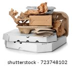 pile of cardboard garbage on... | Shutterstock . vector #723748102