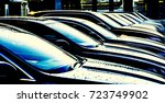 Small photo of luxury modern Cars For Sale Stock Lot Row. Car Dealer Inventory. Cars For Sale Stock Lot Row. Car Dealer Inventory. sunset sun rays light. sun beam
