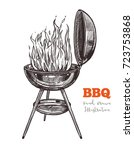 kettle barbecue grill with... | Shutterstock .eps vector #723753868