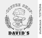 coffee shop logo with laurel... | Shutterstock .eps vector #723756346