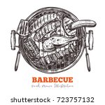 bbq tray with set of meat food  ... | Shutterstock .eps vector #723757132