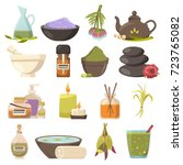natural cosmetology icons set... | Shutterstock .eps vector #723765082