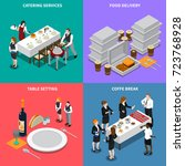 catering services isometric... | Shutterstock .eps vector #723768928