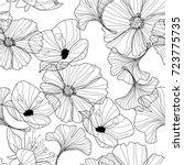 Stock vector flowers pattern line illustrations pencil drawing 723775735