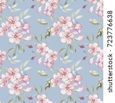 seamless watercolor floral... | Shutterstock . vector #723776638