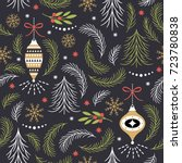 seamless christmas pattern | Shutterstock .eps vector #723780838