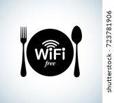 wifi zone sticker. free wifi... | Shutterstock .eps vector #723781906