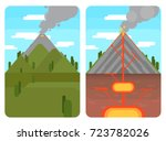 volcano and cross section of...   Shutterstock .eps vector #723782026