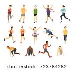 different running athlets sport ... | Shutterstock .eps vector #723784282