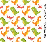 cartoon dinosaurs vector... | Shutterstock .eps vector #723784936