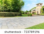 the stone floor road in front... | Shutterstock . vector #723789196