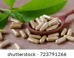 herbal medicine on wood spool... | Shutterstock . vector #723791266