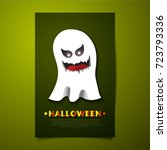 halloween ghost with scary face ... | Shutterstock .eps vector #723793336