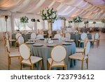 wedding reception in grey.... | Shutterstock . vector #723793612