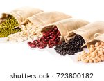 different types of grains on... | Shutterstock . vector #723800182