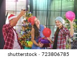 christmas party cheerful... | Shutterstock . vector #723806785