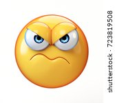grumpy emoji isolated on white... | Shutterstock . vector #723819508