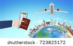 passport boarding pass with... | Shutterstock .eps vector #723825172