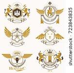 heraldic coat of arms created... | Shutterstock .eps vector #723843835