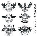 luxury heraldic vectors emblem... | Shutterstock .eps vector #723843862