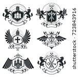 luxury heraldic vectors emblem... | Shutterstock .eps vector #723843916