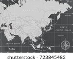 asia minimal map with dark... | Shutterstock .eps vector #723845482