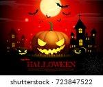 halloween pumpkin fullmoon... | Shutterstock .eps vector #723847522