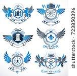 set of vector vintage emblems... | Shutterstock .eps vector #723850396