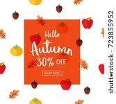 autumn sale vector illustration ... | Shutterstock .eps vector #723855952