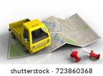 3d illustration of map paper...   Shutterstock . vector #723860368