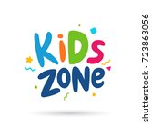 kids zone emblem or logo for... | Shutterstock .eps vector #723863056