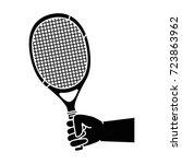 hand human with tennis racket | Shutterstock .eps vector #723863962