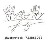 hand drawn family handprints...   Shutterstock .eps vector #723868036