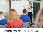smiling woman teacher... | Shutterstock . vector #723871366