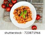 tasty pasta italian meat sauce...   Shutterstock . vector #723871966