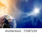 Abstract fantastic background of planet Earth in blue space - stock photo