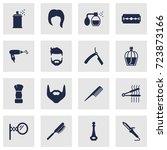 set of 16 barbershop icons set... | Shutterstock .eps vector #723873166