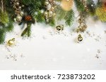 christmas ornament on wooden... | Shutterstock . vector #723873202