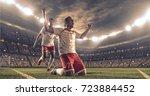 soccer players celebrate a... | Shutterstock . vector #723884452