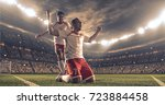 soccer players celebrate a... | Shutterstock . vector #723884458