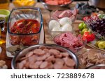 assorted sausages and... | Shutterstock . vector #723889678