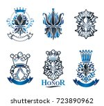 lily flowers royal symbols ... | Shutterstock .eps vector #723890962