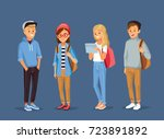 young  people with gadgets and... | Shutterstock .eps vector #723891892