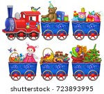 a locomotive with gifts | Shutterstock . vector #723893995