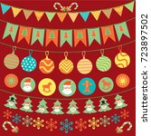 vector cute bunting and garland ... | Shutterstock .eps vector #723897502