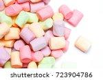 colorful mini marshmallows... | Shutterstock . vector #723904786
