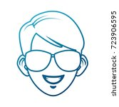 young man with sunglasses... | Shutterstock .eps vector #723906595