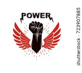 raised strong clenched fist... | Shutterstock .eps vector #723907885