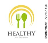 spoon and fork healthy food... | Shutterstock .eps vector #723914518