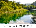 beautiful lake at plitvice ... | Shutterstock . vector #723916216